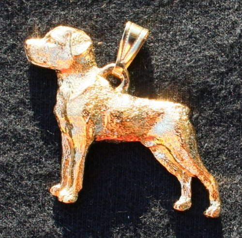 Rottweiler Dog 24k Gold Plated Pewter Pendant by George Harris