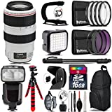 Canon EF 70-300mm IS USM Lens + Pro Flash + LED Kit + Stabilizing Handle + UV-CPL-FLD Filters + Macro Filter Kit + 72 Monopod + Lens Hood + 16GB Class 10 + Backpack + Tripod - International Version