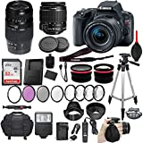 Canon EOS Rebel SL2 DSLR Camera with Canon EF-S 18-55mm f/4-5.6 IS STM Lens + Tamron 70-300mm f/4-5.6 Di LD Lens + 2 Auxiliary Lenses + HD Filter Kit + 50 Tripod + Premium Accessory Bundle (21 Items)