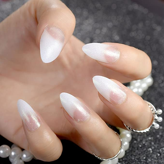 24 uñas postizas Stiletto de color blanco transparente con purpurina acrílica larga redonda natural UK: Amazon.es: Belleza