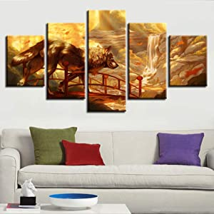 HIOJDWA Paintings Canvas Hd Prints Pictures Modular Wall Art Framework 5 Pieces Wolf Abstract Paintings Anime Princess Mononoke Poster Home Decor