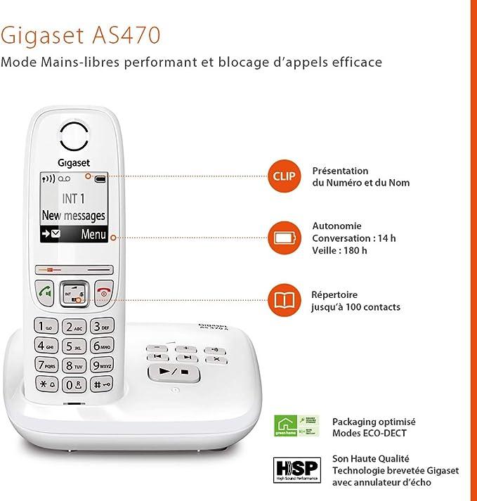 Gigaset AS470A Trio - Teléfono (Teléfono DECT, Terminal inalámbrico, Altavoz, 100 entradas, Identificador de llamadas, Blanco) [Versión importada: Podría presentar problemas de compatibilidad]: Amazon.es: Electrónica