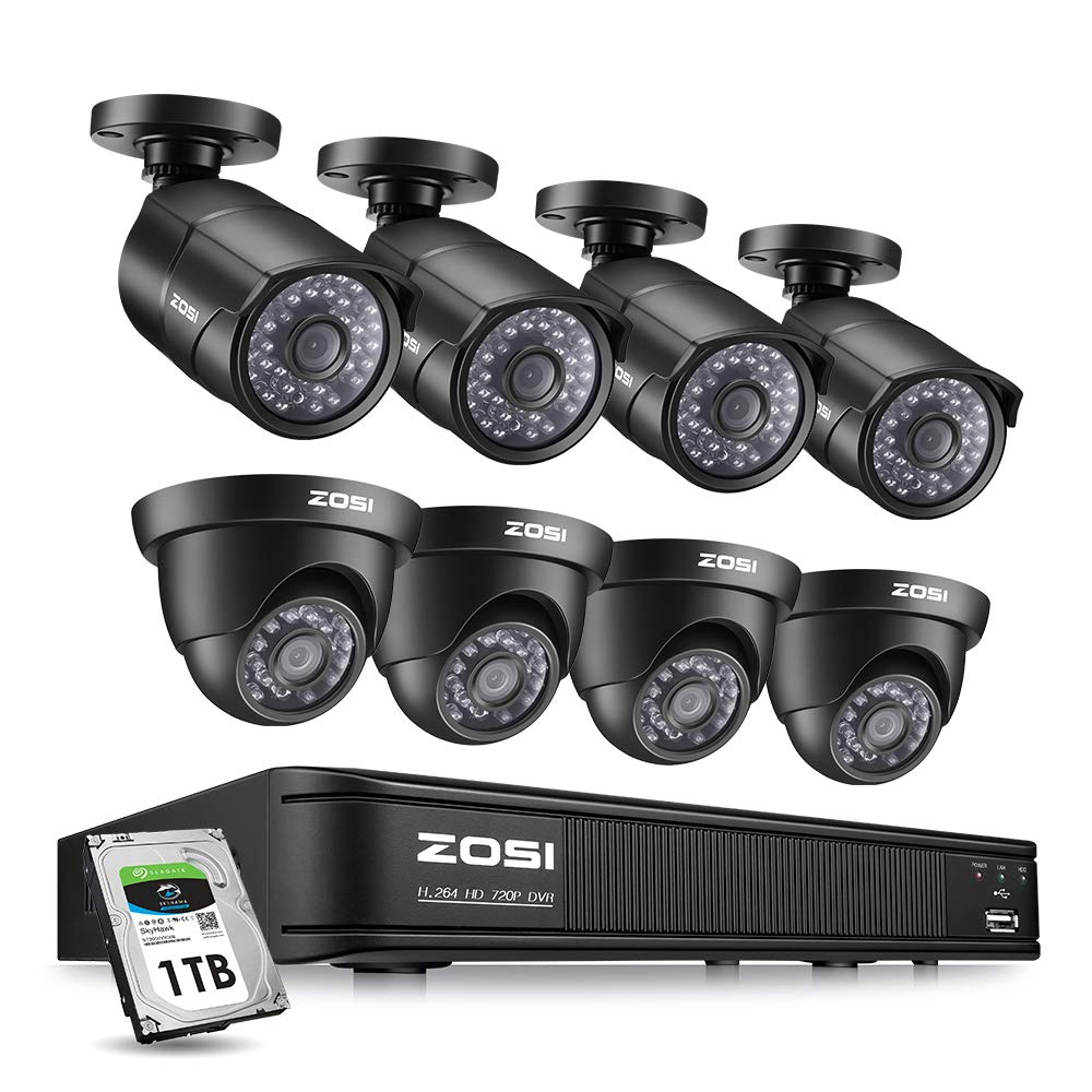 ZOSI Home Security Camera System 8 Channel, 1080p Lite Surveillance DVR Recorder with Hard Drive 1TB and 8 HD 720p Weatherproof CCTV Camera Outdoor Indoor,Remote Access and Motion Detection