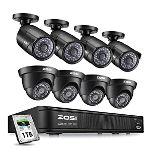 ZOSI Home Security Camera System 8 Channel, 1080p Lite Surveillance DVR Recorder with Hard Drive 1TB and (8) HD 720p Weatherproof CCTV Camera Outdoor/Indoor,Remote Access and Motion Detection