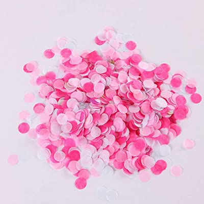 "Huture 1"" Round Circle Tissue Paper Confetti Table Confetti Dots Colorful Confetti for Unicorn Balloon Wedding Birthday Holiday Party Decoration 1.1oz (White Pink Coral): Toys & Games"