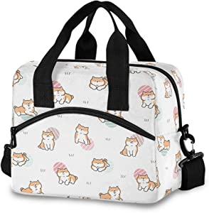 Nander Portable Lunch Bag Thermal Insulated Lunch Box Tote Cooler Handbag Bento Pouch Dinner Container School Food Storage Bags - Cute Cartoon Shiba Inu Dog
