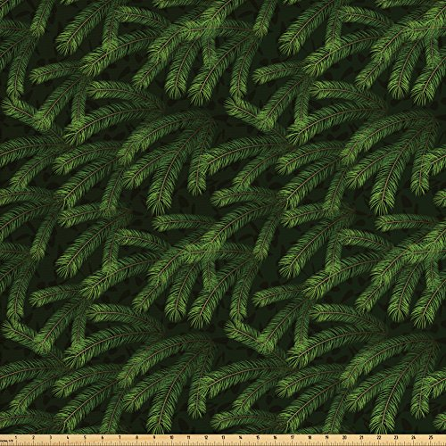 Ambesonne Winter Fabric by The Yard, Vivid Fir Pine Branches Trees Coniferous Trees Evergreen Nature Forest, Decorative Fabric for Upholstery and Home Accents, Green Dark Green Caramel