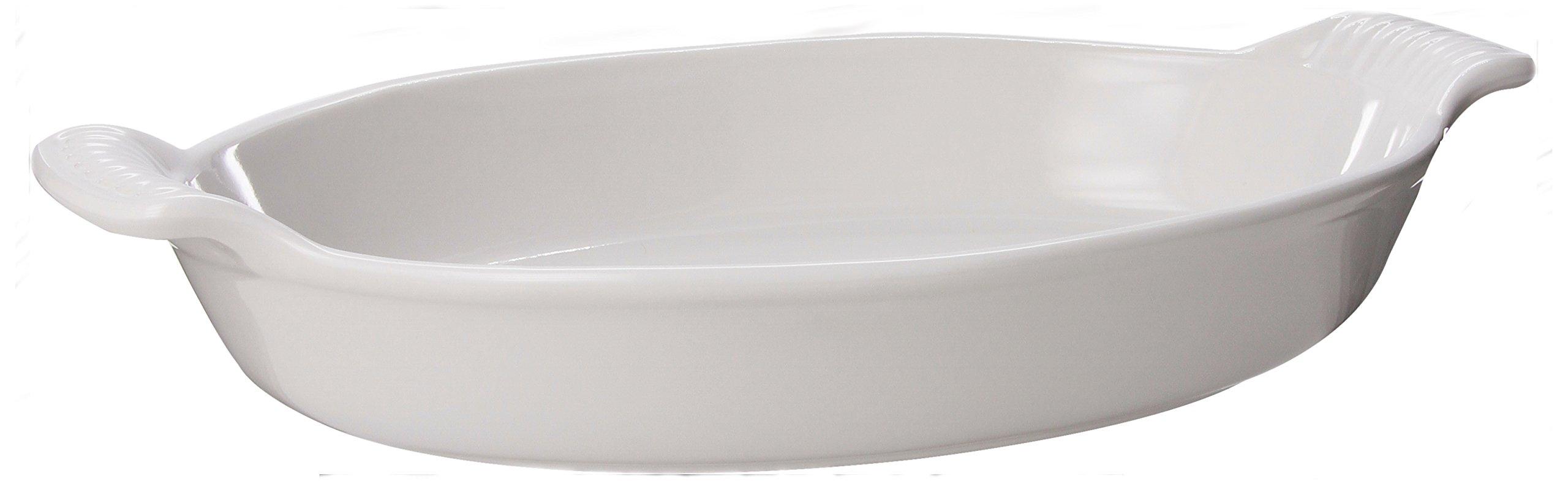Le Creuset Heritage Stoneware 1.7 Quart Oval Au Gratin Dish, White