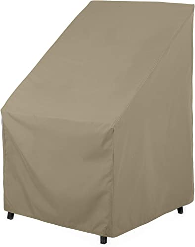 SunPatio Outdoor High Back Chair Cover, Water Resistant, Lightweight, Helpful Air Vents, All Weather Protection, 27 W x 30 D x 42 H, Neutral Taupe