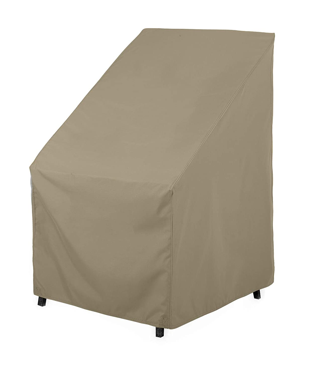 """SunPatio Outdoor High Back Chair Cover, Water Resistant, Lightweight, Helpful Air Vents, All Weather Protection, 27"""" W x 30"""" D x 42"""" H, Neutral Taupe"""