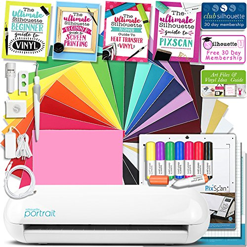 Silhouette Portrait 2 (Cameo Mini) Electronic Cutting Machine Education Bundle with Auto Adjusting Blade and Bluetooth, Oracal 651 Vinyl, Pixscan, Sketch Pens, Guides, and More