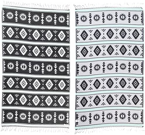 Bersuse 100% Organic Cotton Campeche Turkish Towel - 37X70 Inches, Black/Mint Green, 1 Piece