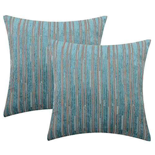 (Yeiotsy Decorative Pillow Covers Teal, Pack of 2, Modern Striped Throw Pillow Cases Geometric Cushion Covers (Teal, 18 X 18 Inches))