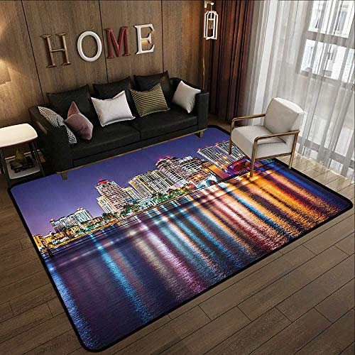 Low-Profile Mats,American,The Townscape of Florida Nightime Skyline and Office Building Illustration,Blue Marigold 47