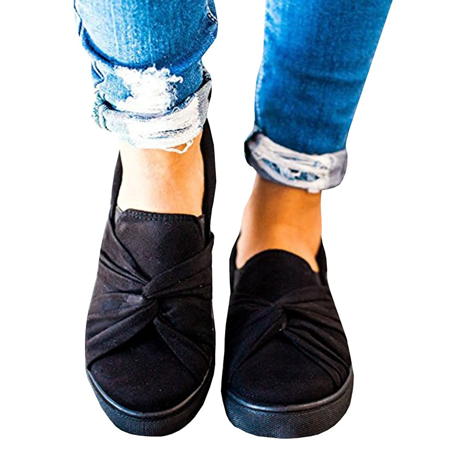 a05d13aaf Umeko Womens Slip on Shoes Top Knot Sneakers Wide Comfortble Fashion Sneaker
