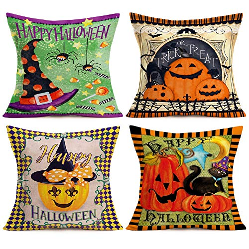 Aremetop Happy Halloween Pillow Covers Cotton Linen Creative Pumpkin Jack-o-Lantern Spider Black Cat Bat Witch with Colored Frame Throw Pillow Case Trick or Treat Cushion Cover 18''x18'' Set of 4