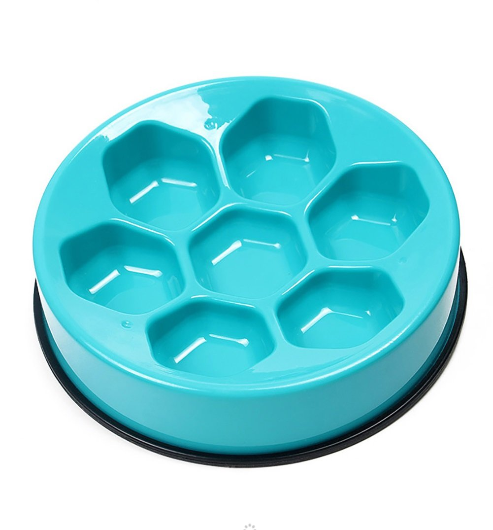 bluee Dog Slow Food Bowl,Dog Cat Food Water Bowl Pet Diet Interactive Feeder Bowl Digestion Tableware Stop Dog Bowl 3 color (color   bluee)