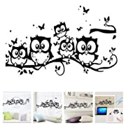 Amaonm Family Owls On The Tree Branches Wall Decal Removable Cartoon Black Vinyl Owl Wall Art Decor Stickers for Babys Children Rooms Bedroom Living Room TV Background