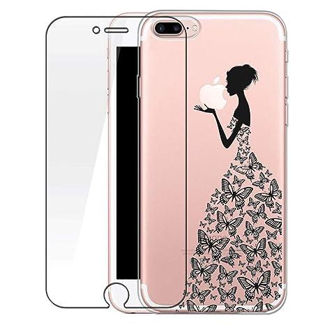 metà fuori 1414e c6695 Bestsky Custodia iPhone 7 Plus [Pellicola Protettiva in Vetro Temperato],  Cover iPhone 8 Plus Trasparente con Disegni Morbida Gel Silicone Antiurto  ...