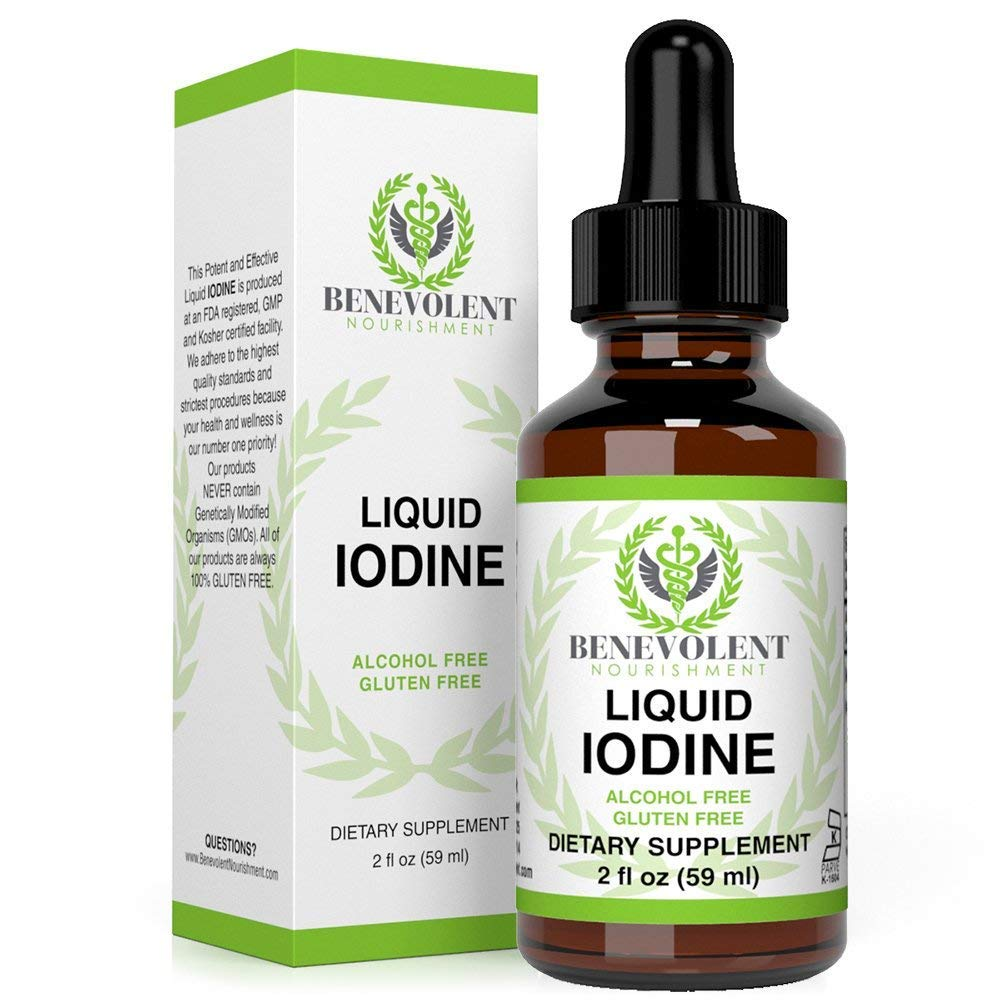 Liquid Iodine Potassium - 1300 Servings | Large 2oz Bottle | Great Taste | 2X Absorption. Just One (1) Potent & Effective Drop a Day for Thyroid Support. 100% Alcohol and Gluten Free.