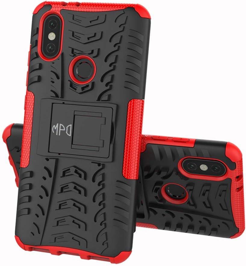 Max Power Digital Funda para Xiaomi Mi A2 con Soporte Protección 360 Grados 2 en 1 Carcasa Dura Resistente Antigolpes Heavy Duty Rugged Armor Case (Xiaomi Mi A2, Rojo)
