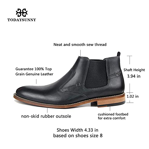 Amazon.com | Todaysunny Chelsea Boots Men Leather Ankle Slip-on Boot Black Brown Formal Dress Casual Moccasins Shoes | Chelsea