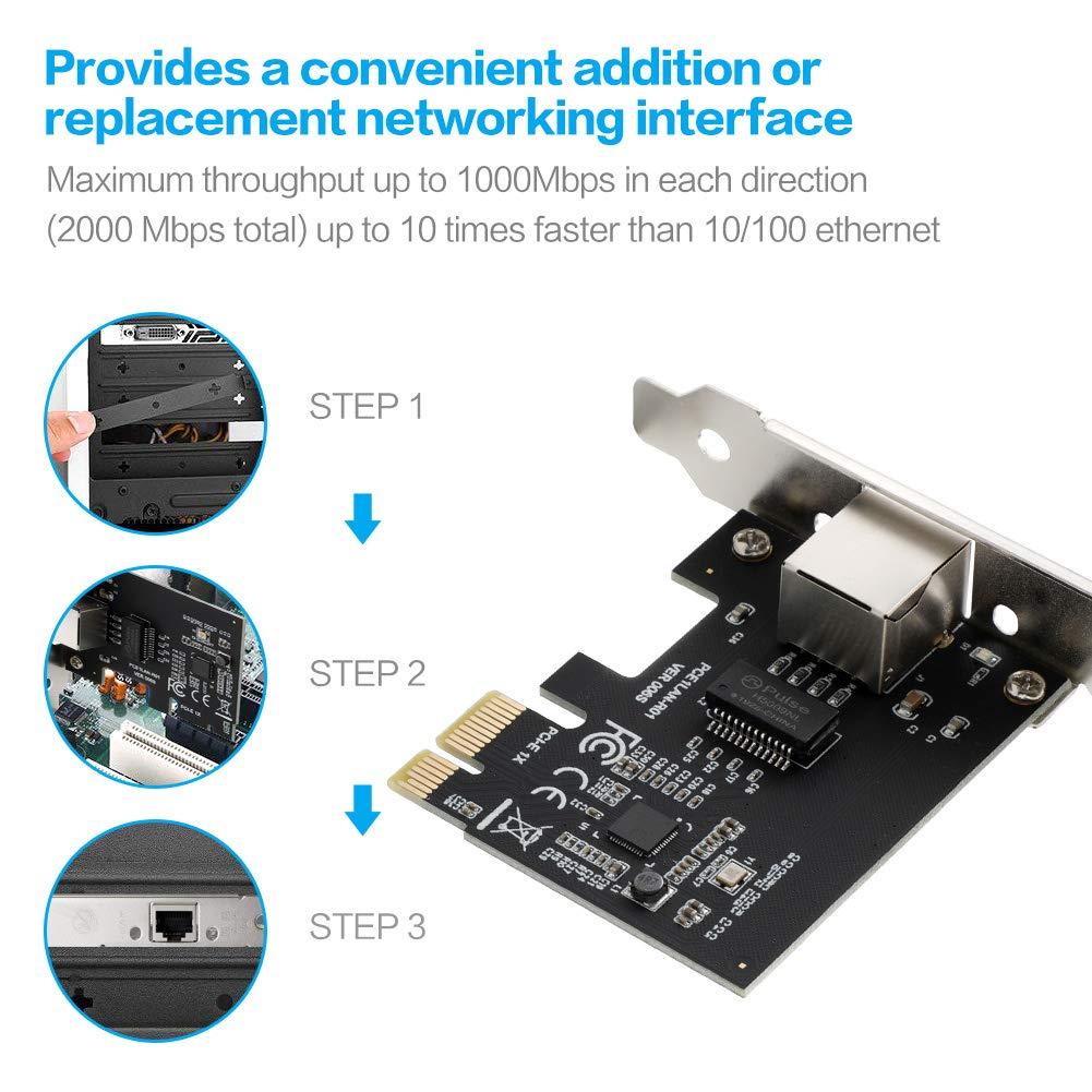 BEYIMEI Carte R/éseau PCI Express Gigabit Ethernet /à 1000 Mbps RJ45 LAN Adaptateur pour PC Supporte Windows 10 8.1 8 98SE ME 2000 XP Vista
