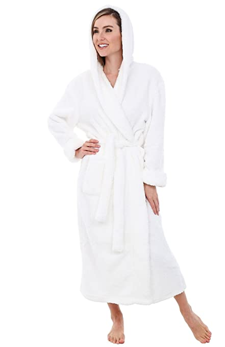 acef90d10a Alexander Del Rossa Womens Full Length Hooded Plush Fleece Robe ...