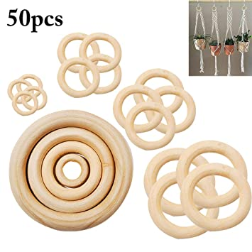 50PCS Natural Wood Ring Assorted Sizes Wooden Ring Teething Ring for DIY Crafts