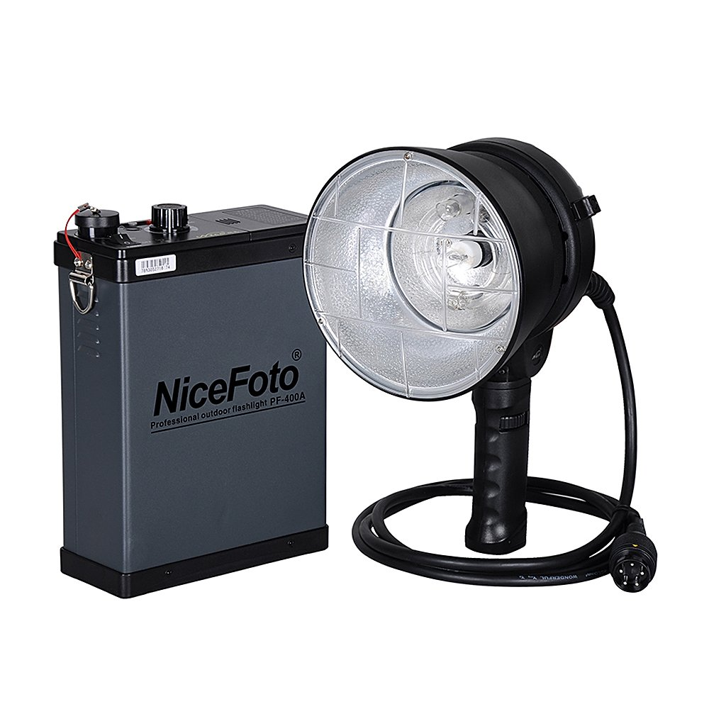 NiceFoto PF-400A 400W Professional Outdoor Strobe Flash Lights with 3800mAh Battery Pack by NiceFoto