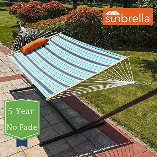 Lazy Daze Hammocks 15 Feet Heavy Duty Steel Hammock Stand, Two Person Sunbrella Fabric Hammock Combo,Token Surfside