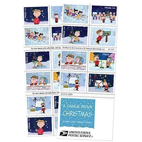 (USPS Charlie Brown Xmas Pane of 20 Forever Postage Stamps Scott 5021-30)