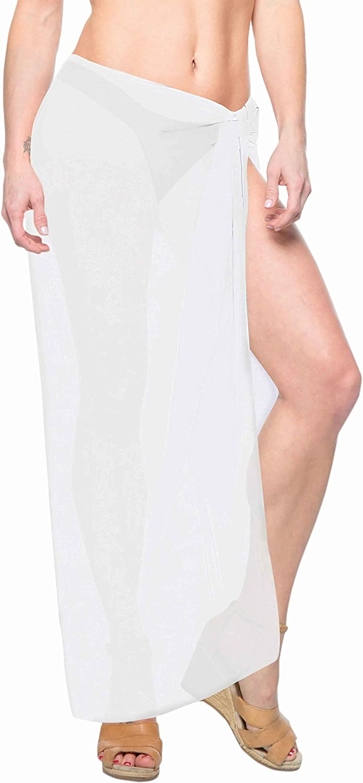 LA LEELA Womens Plus Size Boho Sarong Swimsuit Cover Ups Beach Wrap Full Long A