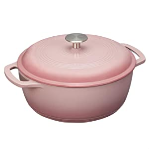 Amazon Basics Enameled Cast Iron Dutch Oven - 4.3-Quart, Light Pink