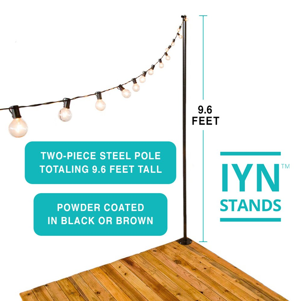 Illuminate Your Night (IYN Stands) Outdoor String Light Pole Stand - Black - 9.6 Feet Tall - Durable [Sturdy] Powder Coated Steel - for Wood Decks, Concrete Patios, Grass - Weather Resistant by IYN Stands