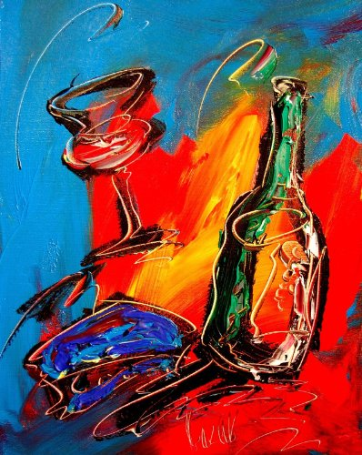 Wine Modern Abstract Impressionist Art Deco - Oil Painting on Canvas- Signed with Certificate of Authenticity-size 20 X 24, Fine Arts, Stretched , Gallery Wrap, Ready to Hang (Signed Painting Abstract)
