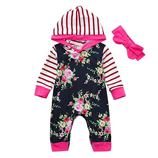 fc5ba871f1d7 SUNBIBE👻Newborn Baby Girl Winter Clothes Cute Stripe Hooded Floral Long  Sleeve Onesies Romper Bow