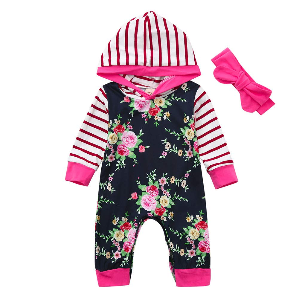 Cyhulu Newborn Infant Unisex Baby Floral Striped Print Romper Hooded Jumpsuit Outfits