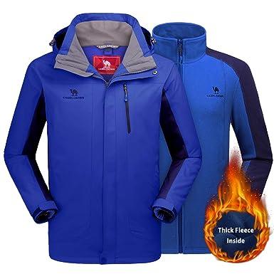 b2207bd277 CAMEL CROWN Men s Ski Jacket 3 in 1 Waterproof Winter Jacket Snow Jacket  Windproof Hooded with Inner Warm Fleece Coat
