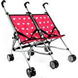 Hearts Doll Twin Stroller for Kids - Doll Stroller Folds for Storage - Great Gift for Toddlers