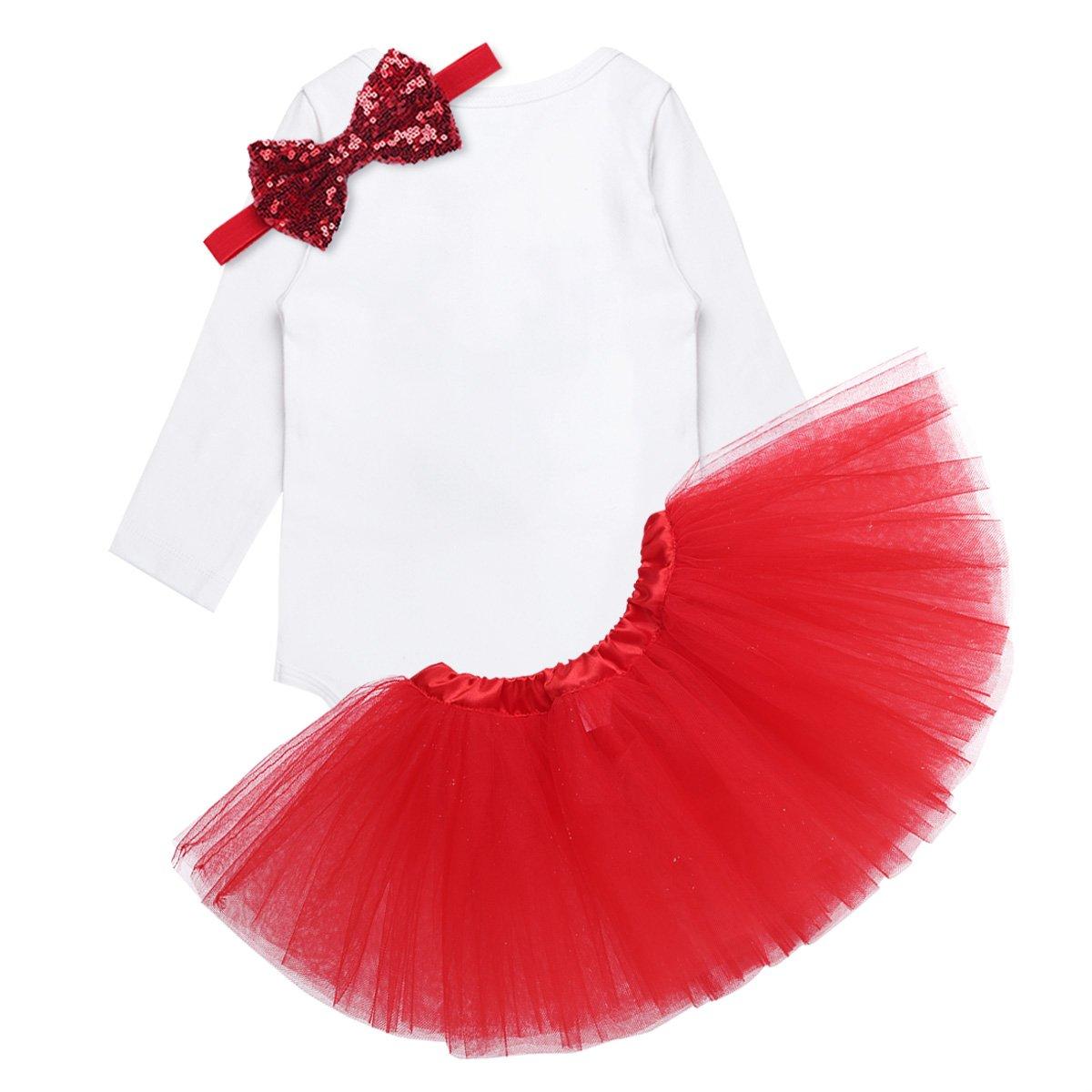 Amazon.com: iEFiEL Baby Girls Christmas Costume Bodysuit Headband ...