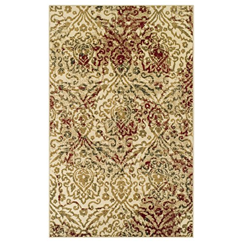 Superior Ophelia Collection Area Rug, Vintage Ikat Damask Pattern, 10mm Pile Height with Jute Backing, Affordable Contemporary Rugs - Cream, 8' x 10' Rug - Green Gold Area Rug