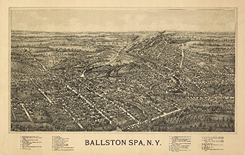 Ballston Spa, New York - Panoramic Map (24x36 Fine Art Giclee Gallery Print, Home Wall Decor Artwork ()