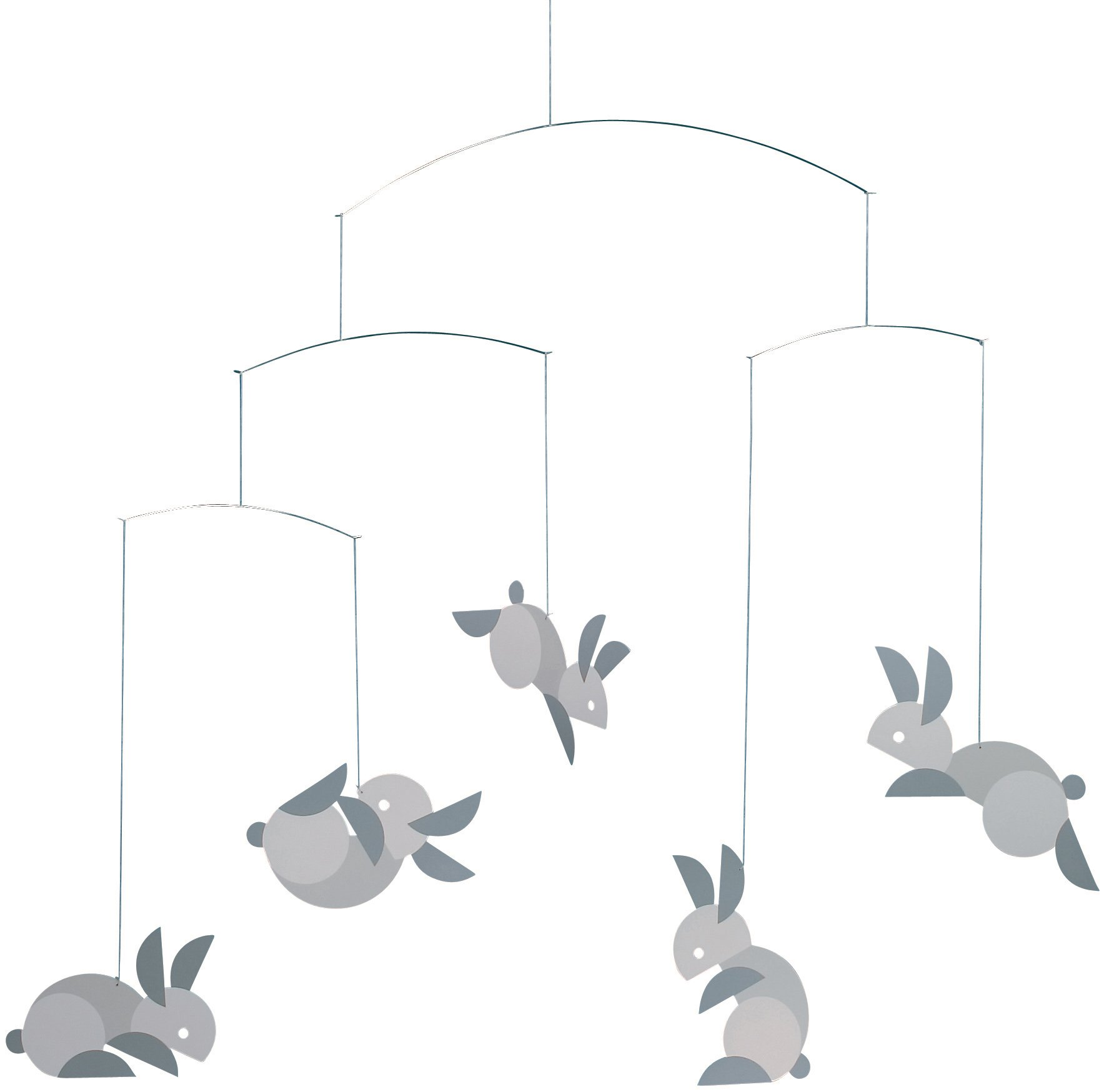 Flensted Mobiles Circular Bunnies Hanging Nursery Mobile - 21 Inches Cardboard