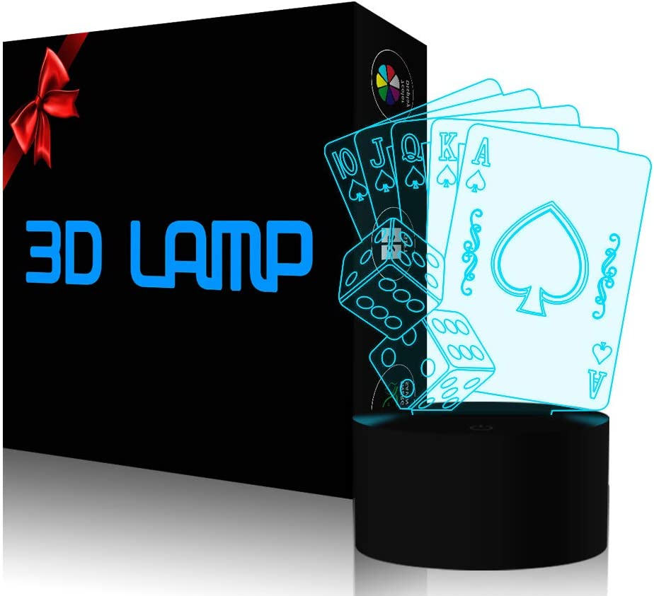 Casino Poker Dice 3D Lamp, Optical Illusion Night Light for Club/Decor/Bedroom, 7 Colors Changing Cards Sign Toys and Gifts for Kids/Birthday/Fathers Day by YKL World