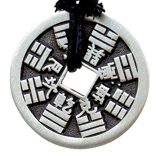 OhDeal4U Replica Chinese Ancient i-Ching Coin Good Fortune Lucky Charm Pewter Pendant (Bagua-God-Thunder)
