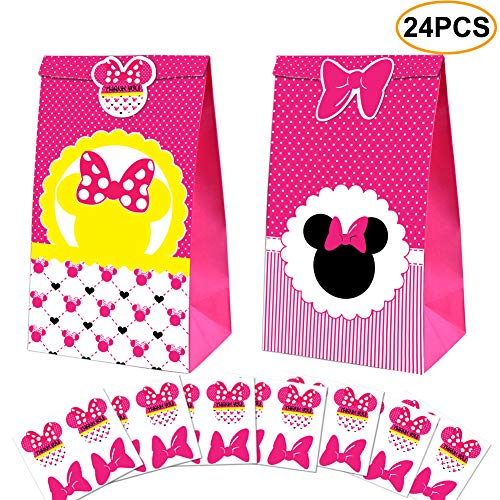 Minnie Party Favor Bags -Minnie Paper Treat Candy Gift Bags And Minnie Stickers for Kids Boys Birthday Minnie Party Supplies -24 Pack