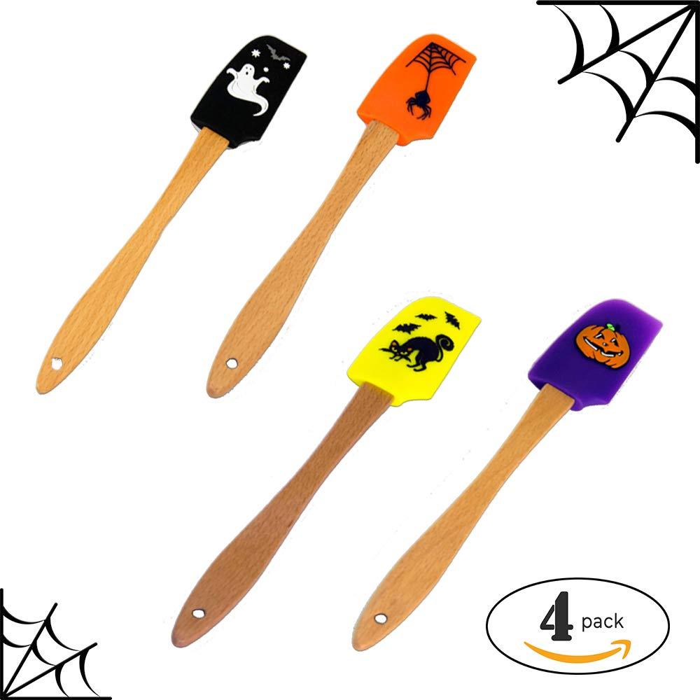 BonBon Halloween Spatula Black Cat Silicone Wood Scrape Spread Mix Spreader Tool