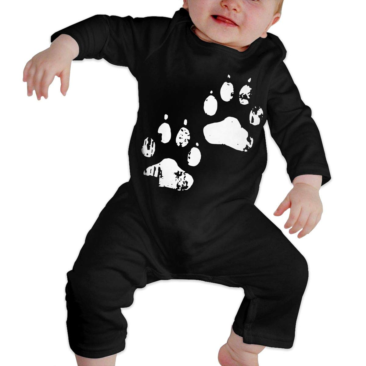 Soft Dog Paw Print Crawler Long Sleeve Cotton Bodysuit for Baby Girls Boys