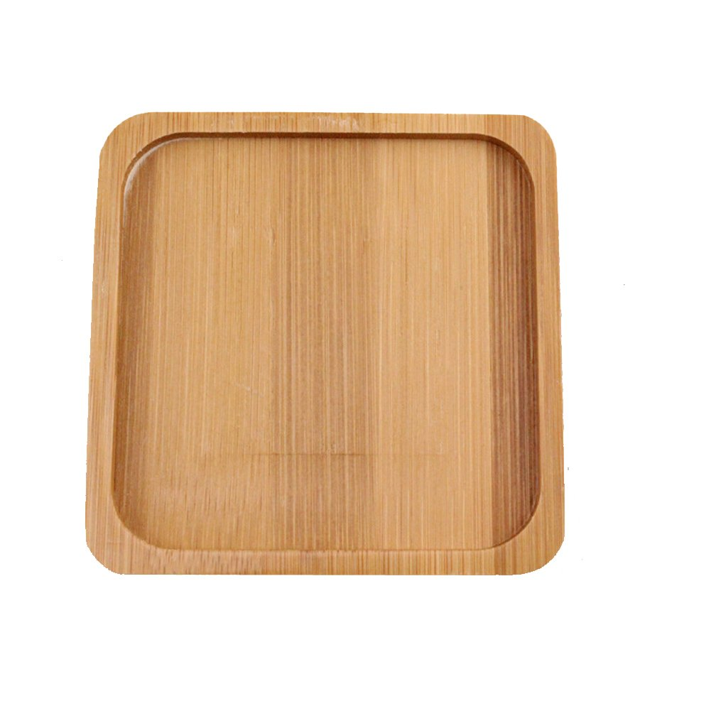 Fittoway Bamboo Concise Air Plant Dish Display Tray Multifunctional Tray for Home Office Oval